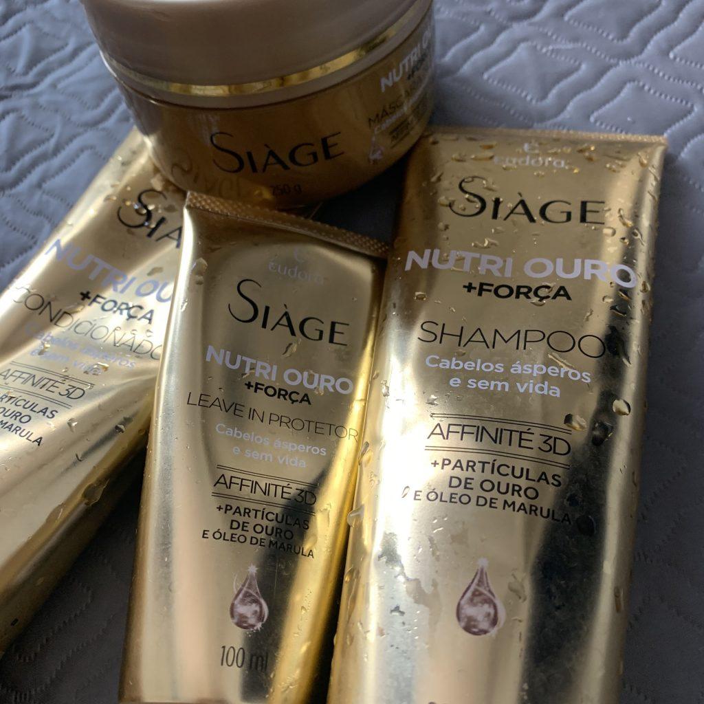 A foto mostra os produtos que fazem parte da linha Siàge Nutri Ouro