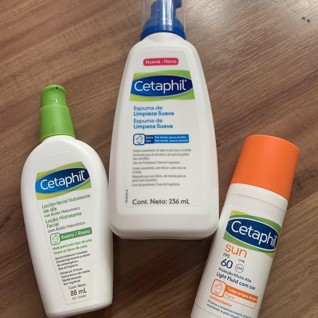A foto mostra os produtos da Cetaphil de cuidados faciais