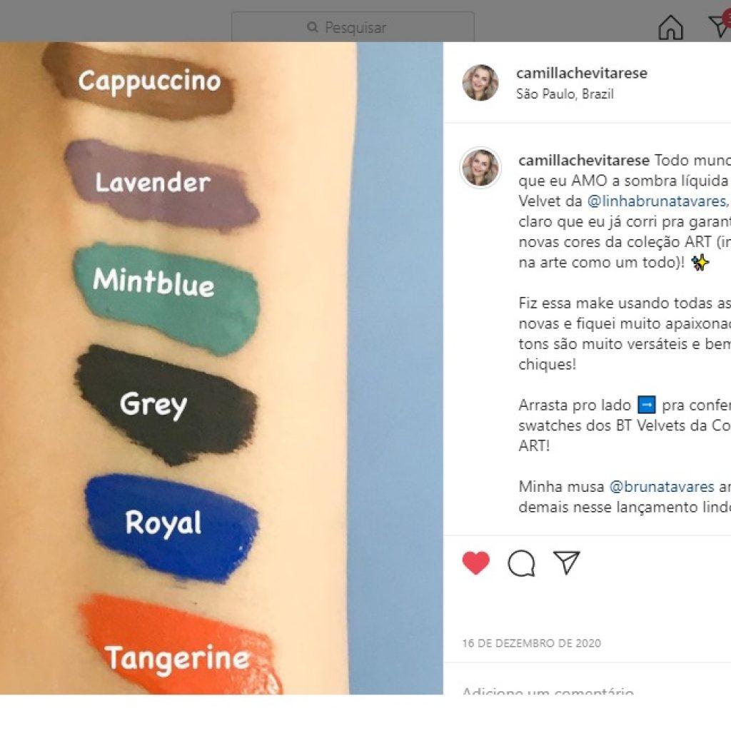 A foto mostra as cores da coleção BT Velvet Art